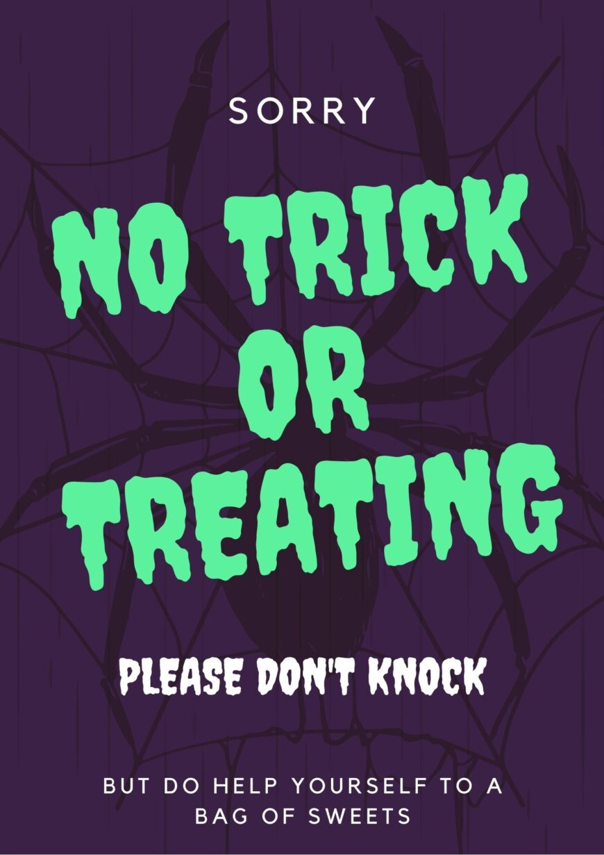 No Trick or treating poster - please don't knock poster