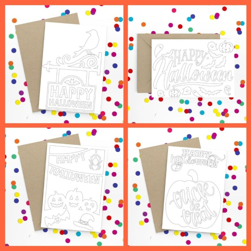 These free printable Halloween card to colour are so simple to use.  Just download,  print, fold, and send them out!