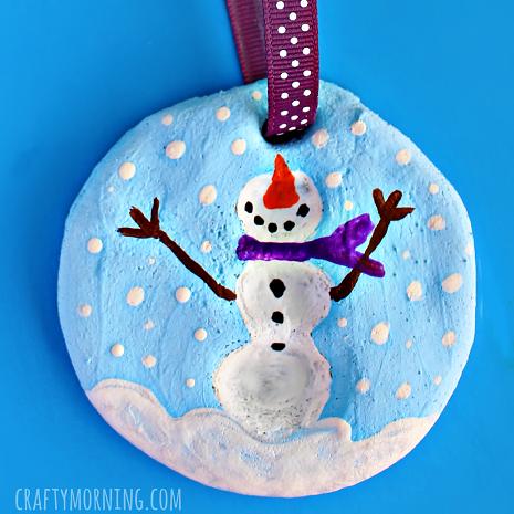Snowman fingerprint keepsake decoration