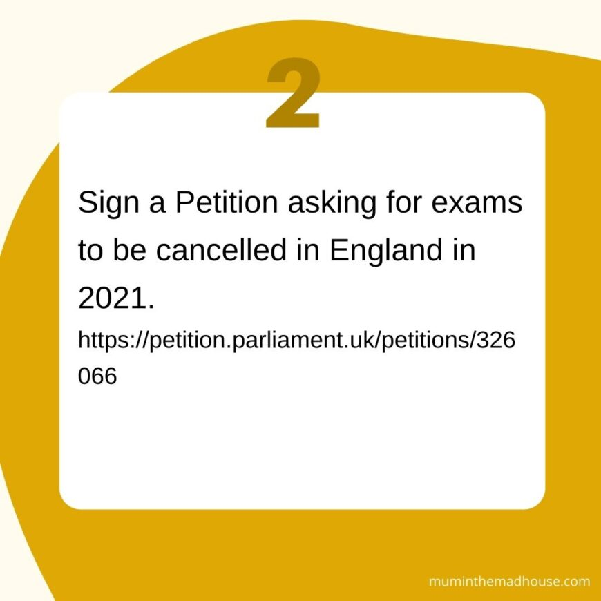 Actions and a sample letter to call for cancel exams in England for 2021. Why we need to cancel GCSE's and A'Levels in England in 2021.