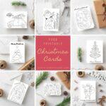 Free Printable Christmas cards to colour