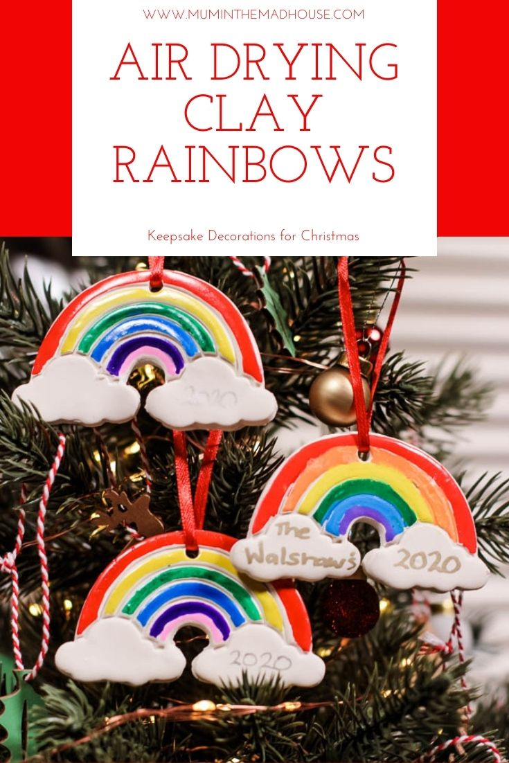 These colourful DIY Rainbow Clay Christmas Tree Decorations are the perfect homemade Christmas tree ornament perfect for air dry clay