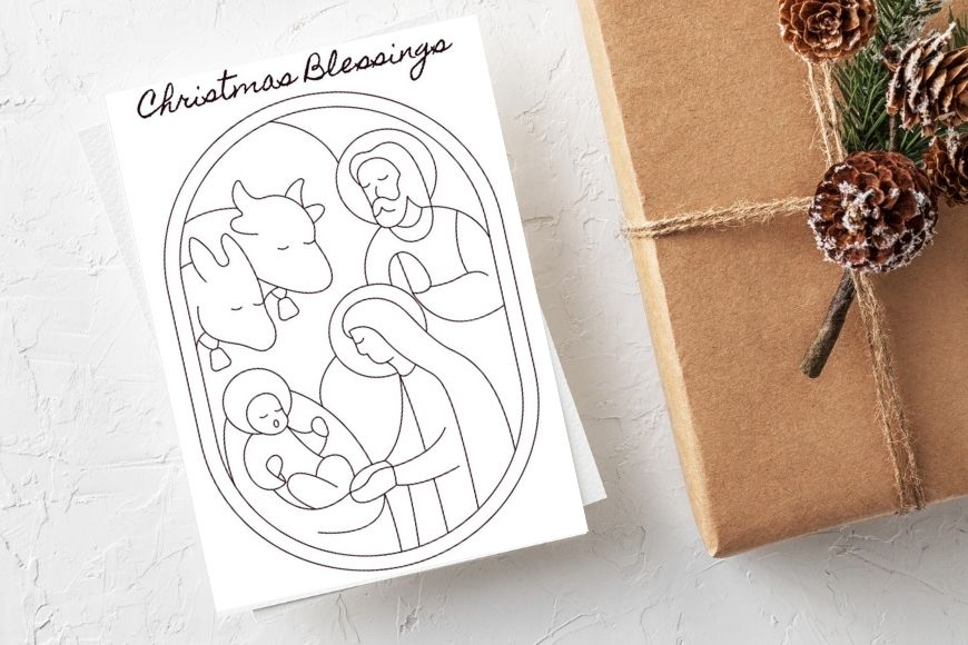 Christmas Blessings card to print and colour