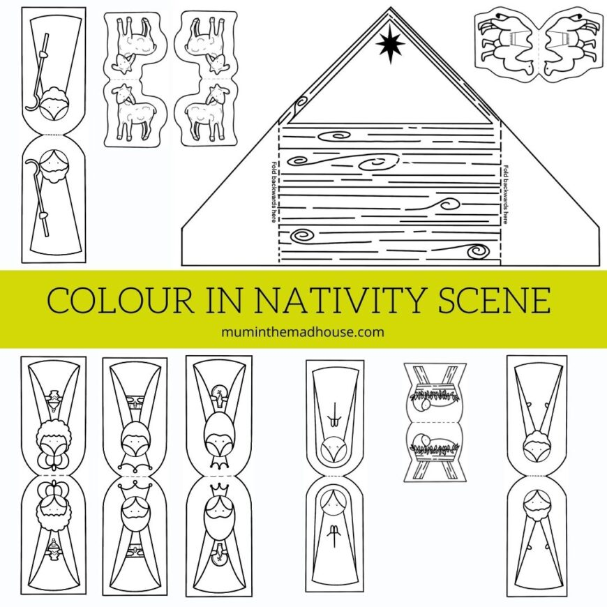 Children will love to colour in these free printable Nativity Puppets including Mary, Joseph, Jesus and the wise men to make a nativity scene