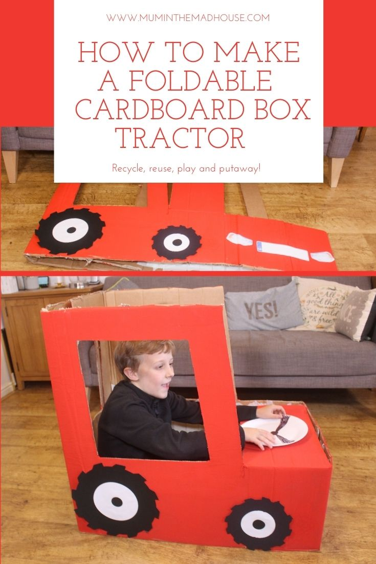 How to make a foldable tractor out of a cardboard box with free printables, yes this folds flat for storage