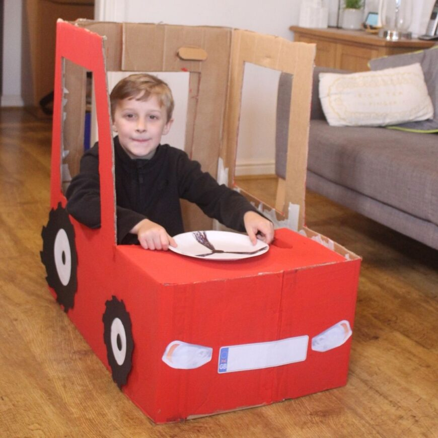 How to make a foldable Cardboard Box Tractor with Free Printables