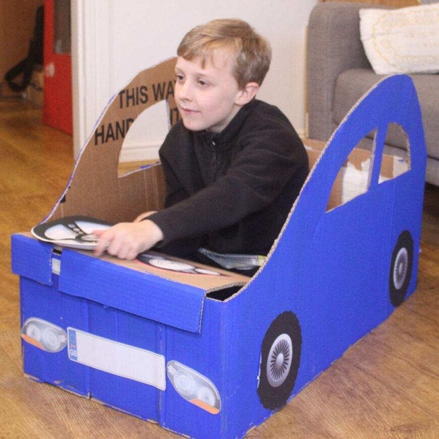 A fab tutorial for a Cardboard Box Car that folds. Recycle that cardboard box and make a car that will bring weeks of fun. Perfect for a drive in movie party.