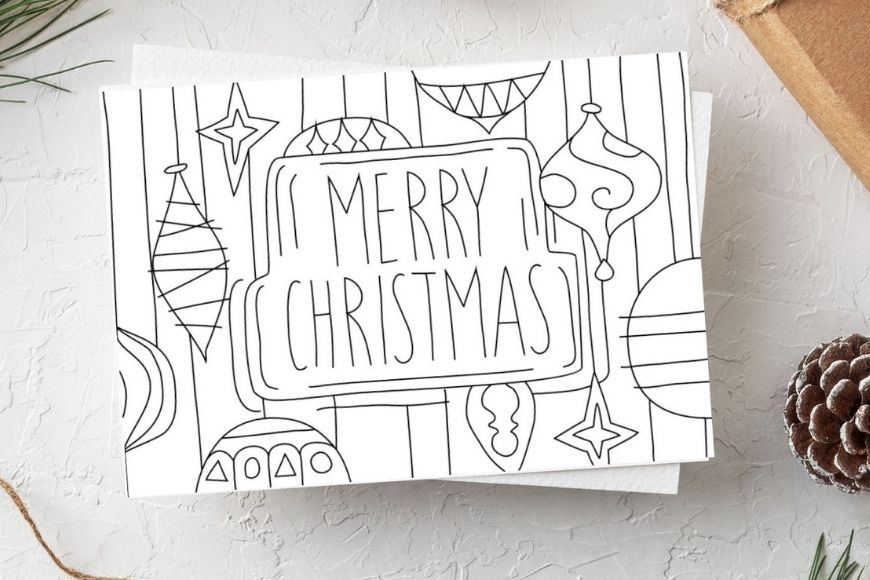 Merry Christmas - Baubles Christmas card to print and colour in