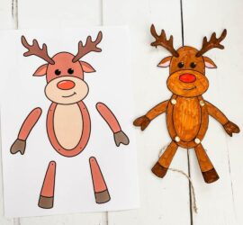 This fun paper articulated reindeer puppet printable comes ready for you to colour or already coloured. A fun festive craft for kids.