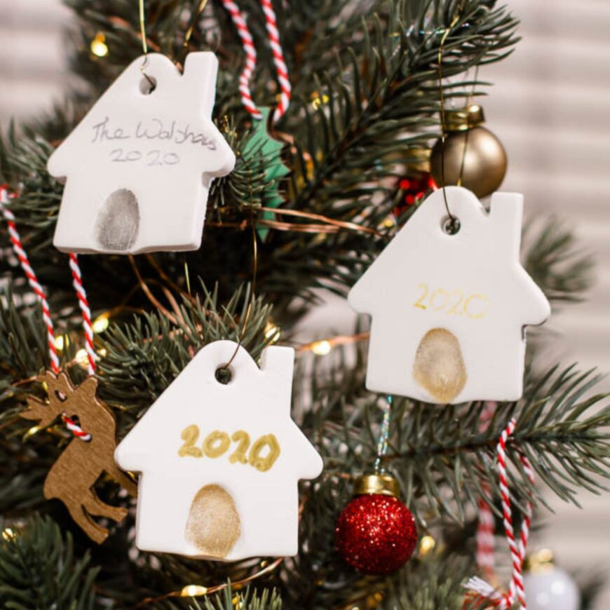 How to make a DIY Clay House Christmas Tree Decoration. A festive keepsake ornament reminder of the last year and hand on the Christmas Tree.