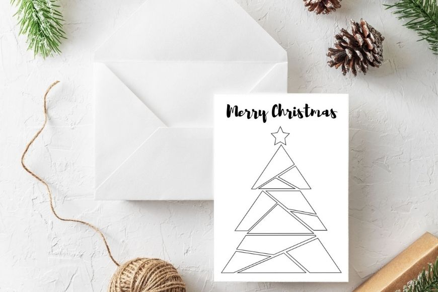Merry Christmas - Tree Christmas  card to print and colour in