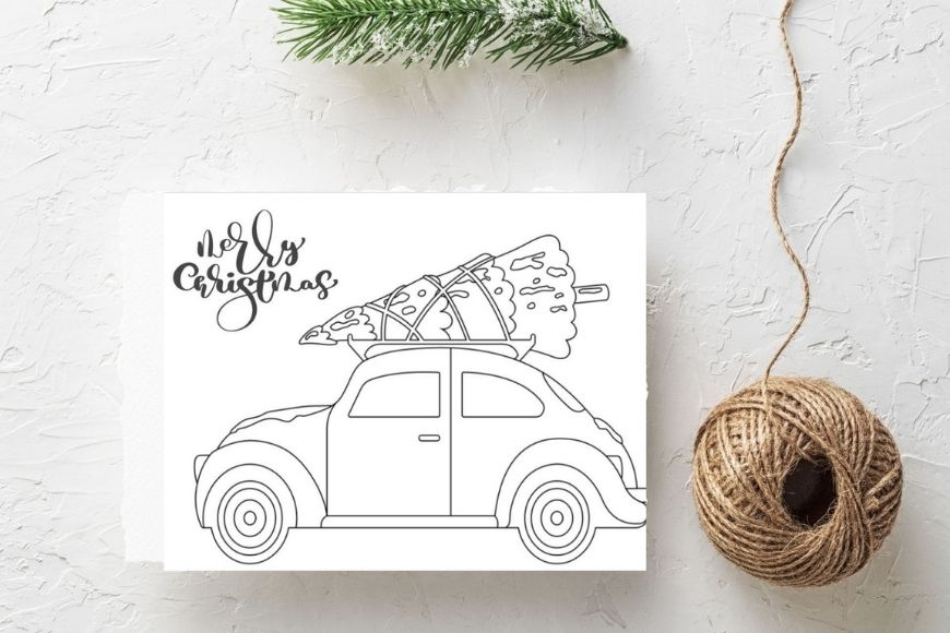 Merry Christmas - Tree and car  Christmas card to print and colour in