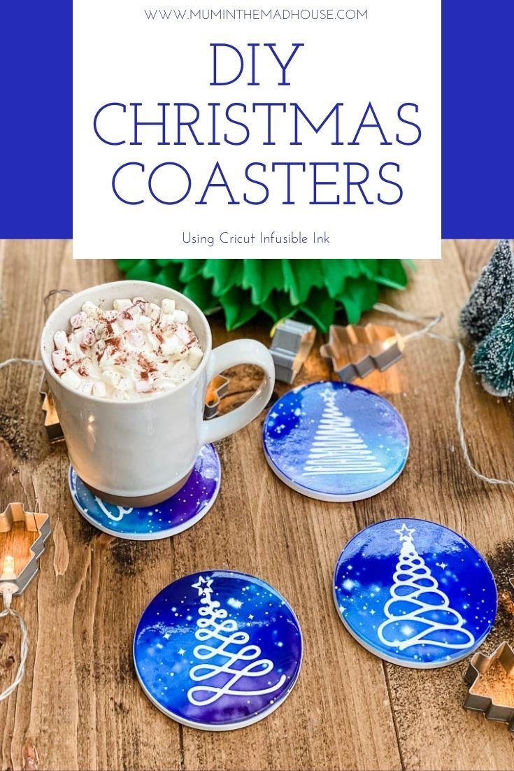 Stunning DIY Christmas Coasters using Cricut Infusible ink to create stunning and bright Christmas Tree silhouettes against a starry night sky.