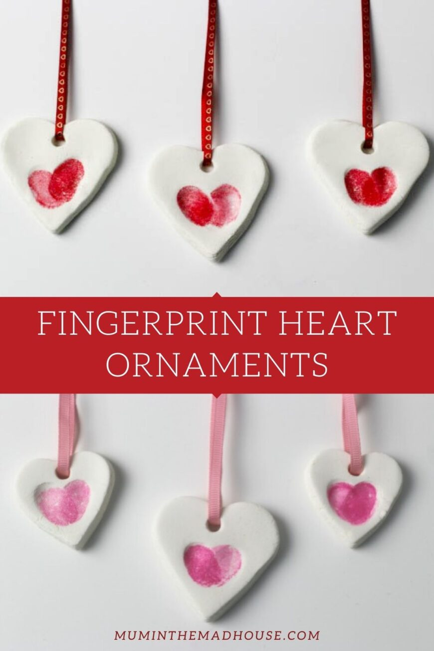 Adorably simple fingerprint heart ornaments made using baking soda clay. They are really easy and inexpensive to make and make great valentines keepsakes or gifts