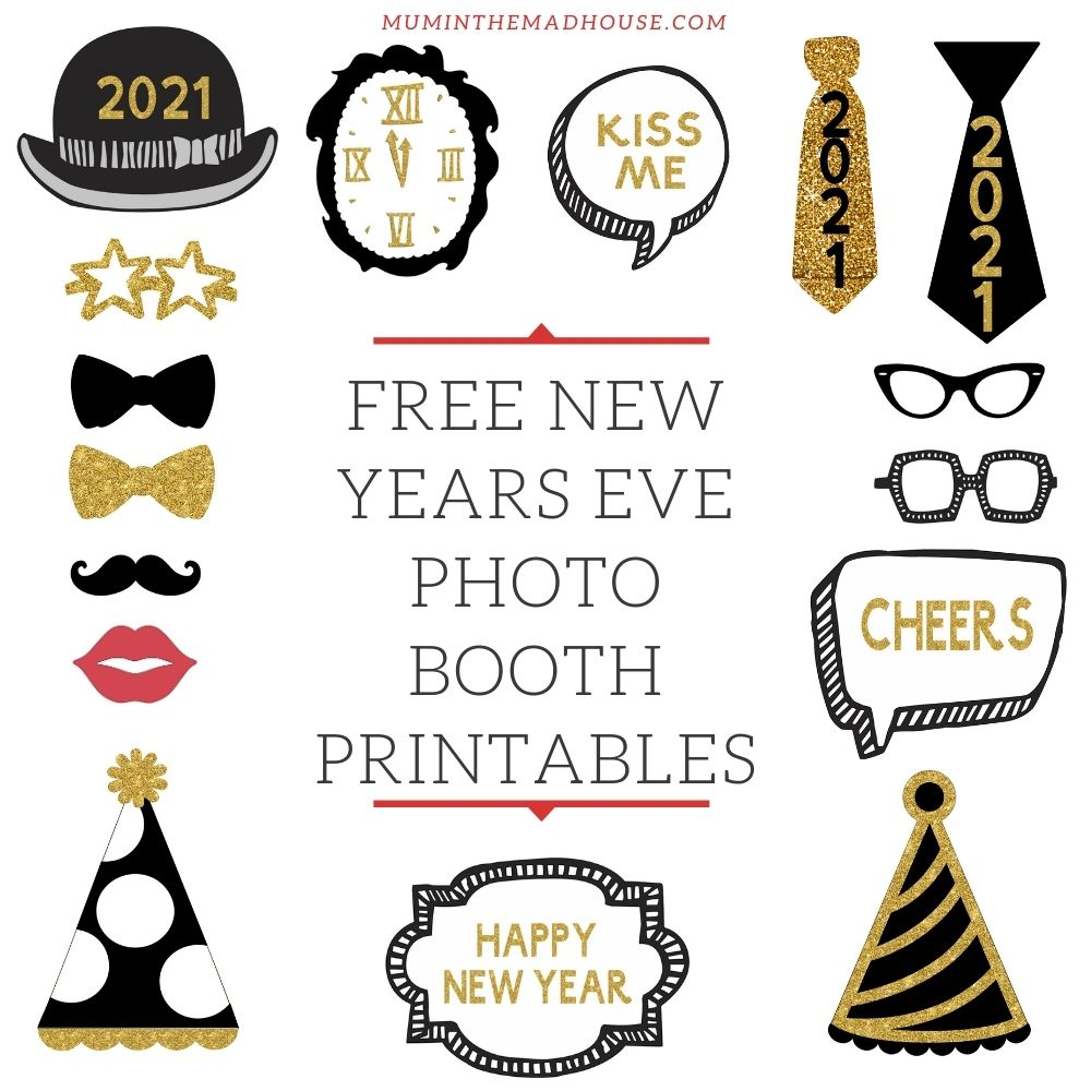Free Printable New Years Eve Party Photo Booth Props Mum In The Madhouse