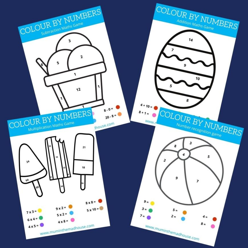 Free Colour by Number Printable Worksheets