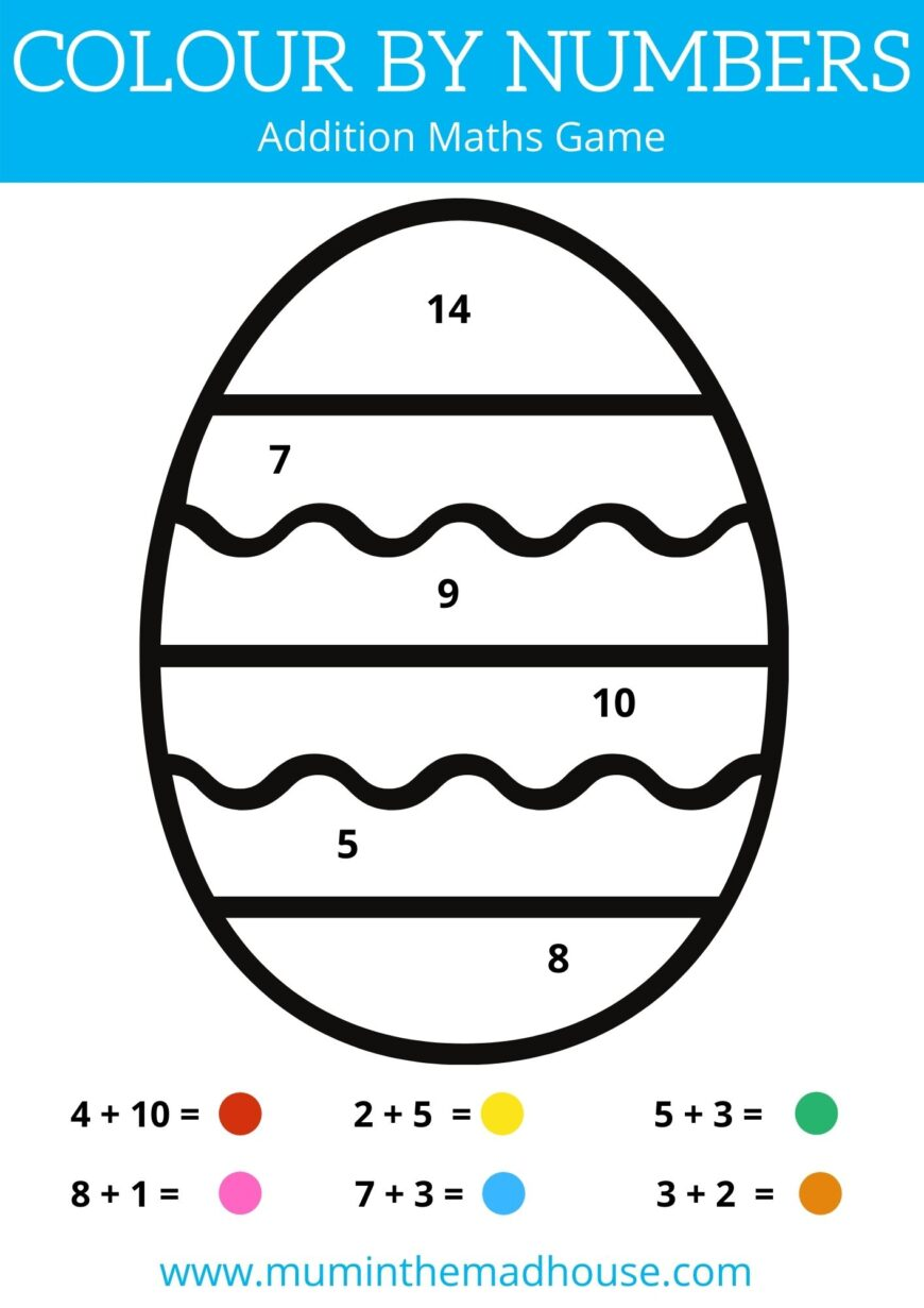 Free Colour by Number Printable Worksheets - Addition Maths Game