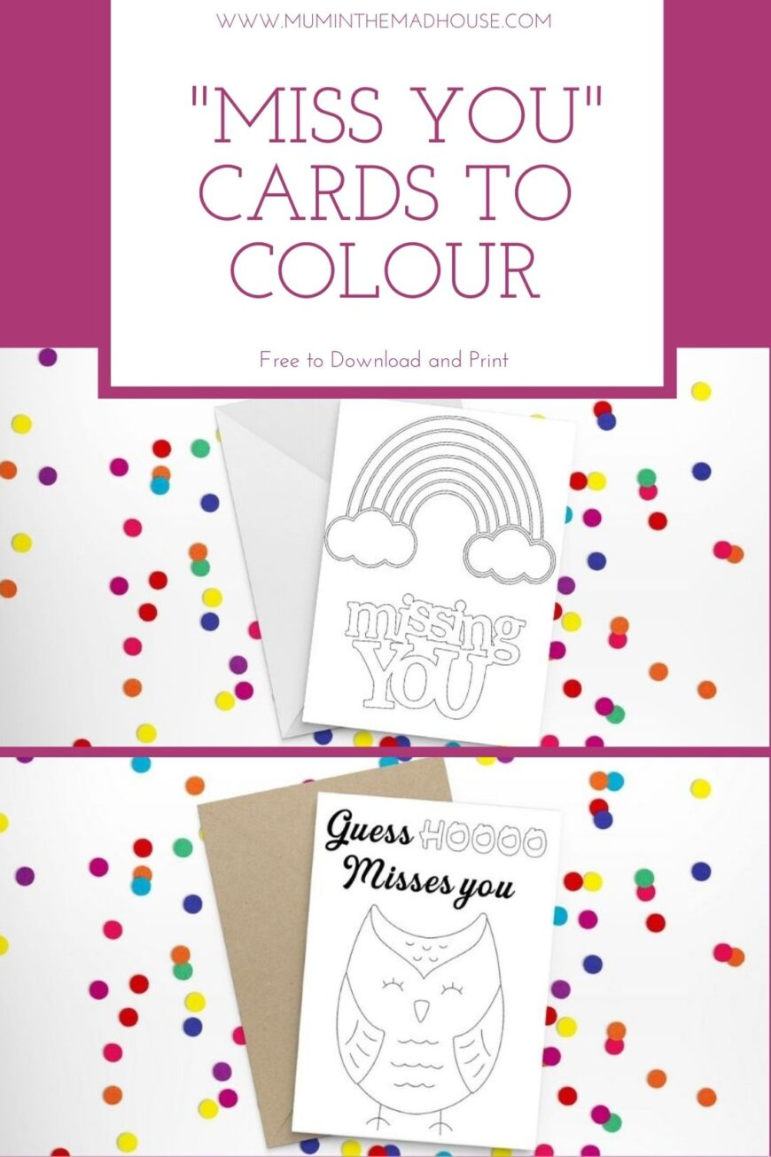 "These free printable ""miss you"" cards to colour are perfect for kids to send to their friends and family that are missing.  There is nothing like something that will keep the kids occupied for at least 10 minutes and brighten someone else's day when they receive it."