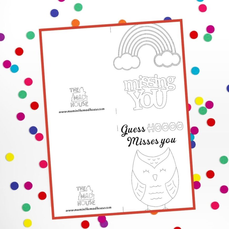 """2""""Miss you"""" Cards to colour"""