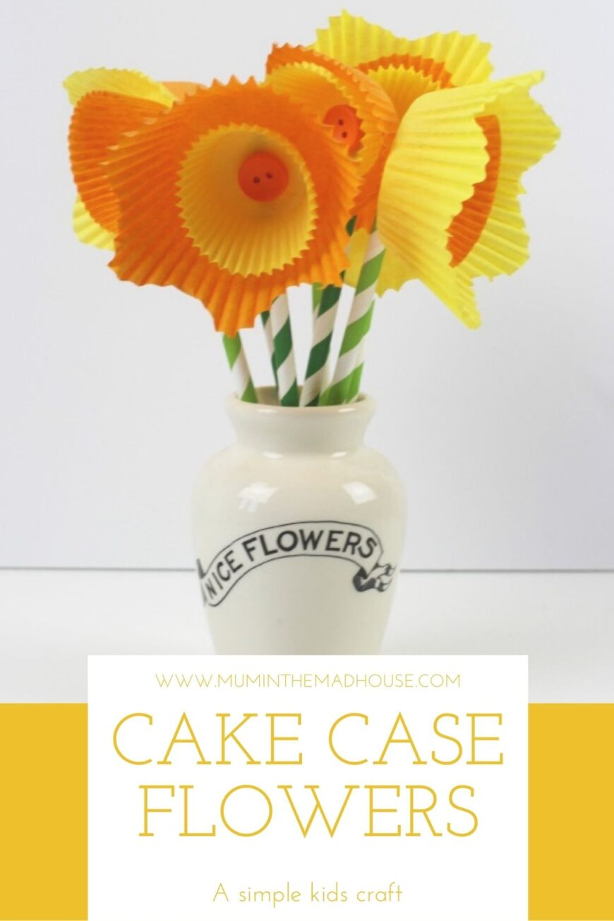 DIY Cake case daffodils, a simple craft activity perfect for kids of all ages. Homemade flowers are easy to make but look fantastic. Make them even more effective by using different sized cases such as muffin and bun cases
