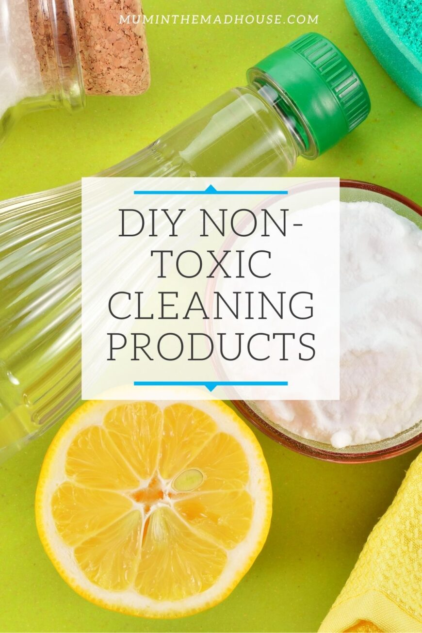 half a Lemon, White vinegar,  bow of Bicarb DIY Eco cleaning products