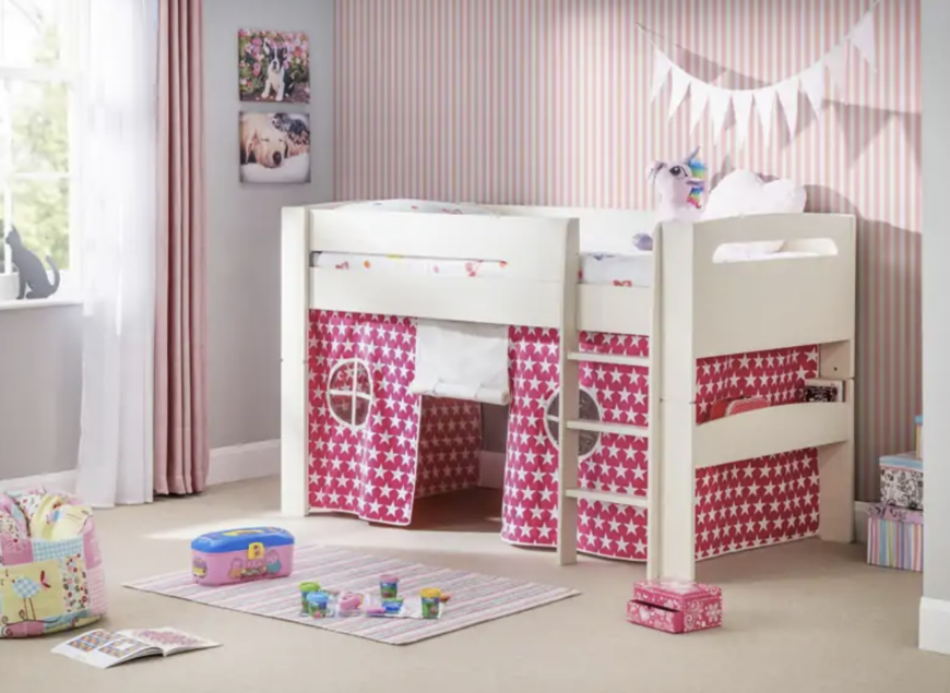 could be better than a kids bed which combines a sleep and play space? Not much in the eyes of our little ones! The Hudson Midsleeper with Pink & White Stars Tent is designed to give them a sense of maturity, teamed with a tent to create their own little hideout, whether that b