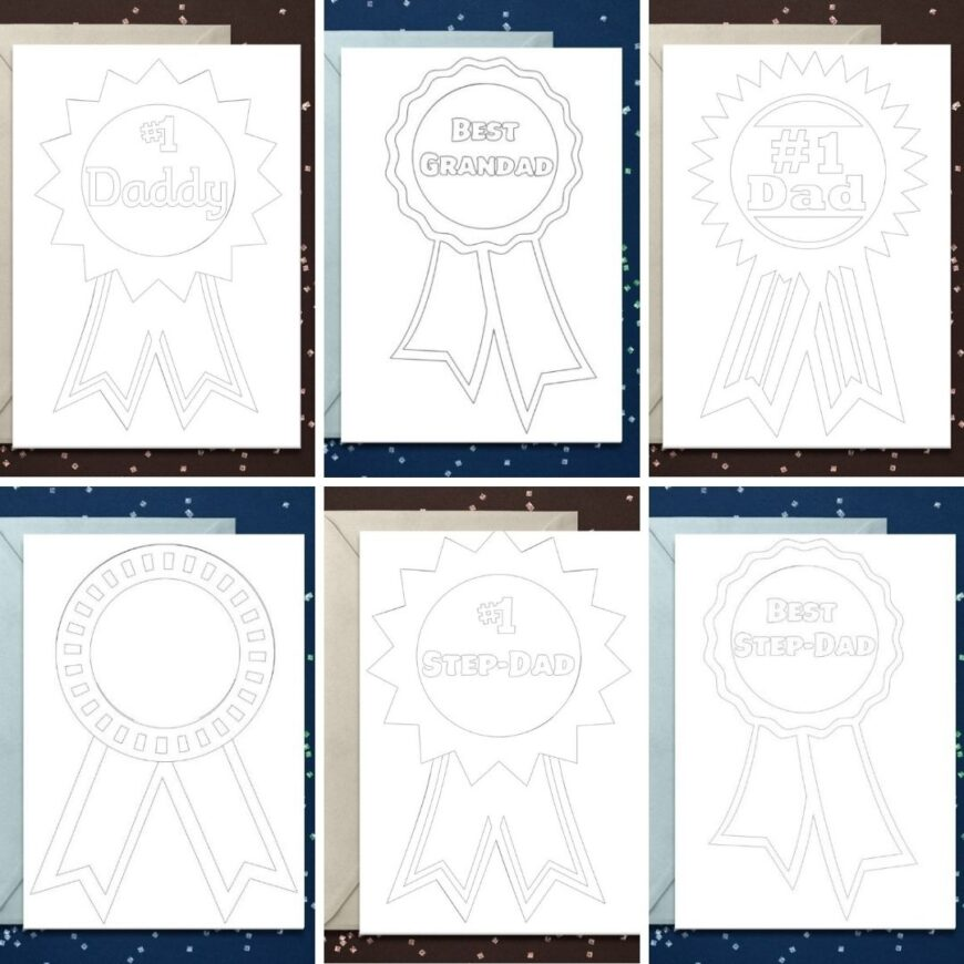 Download your free Rosette father's Day card printables for Dad's, Granddad's and Step-Dads. Perfect for all the father figures in life.