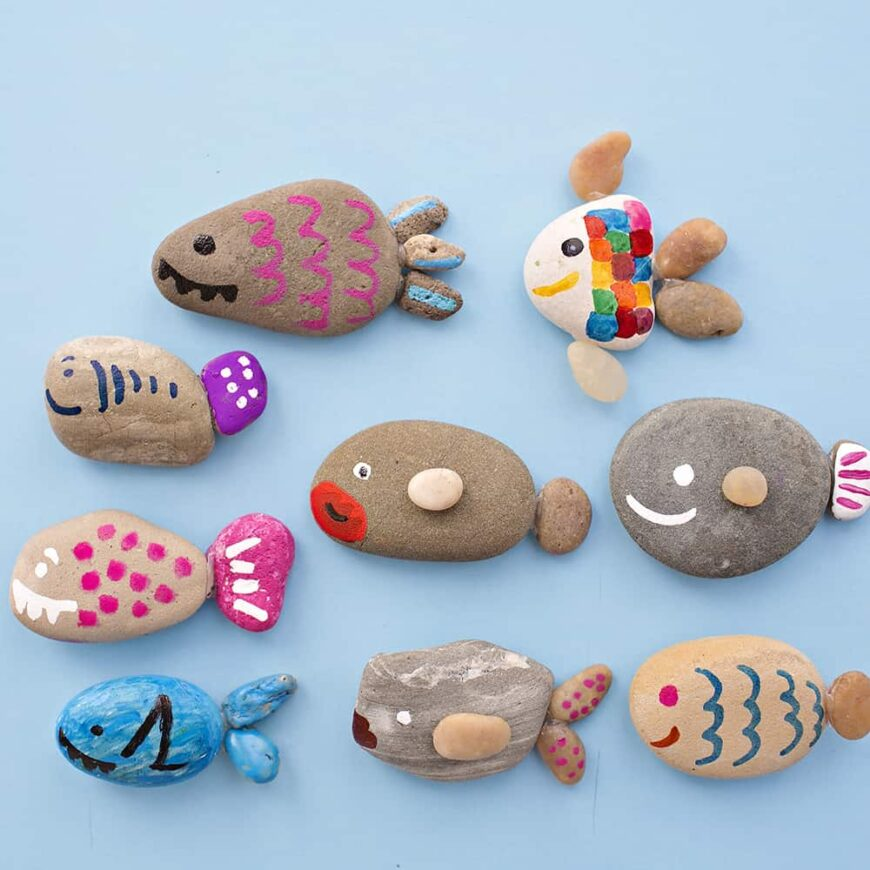 Fishes made from rocks and pebbles