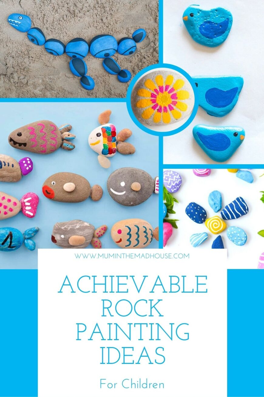 These simple Rock Painting ideas for kids are great for inspiring ideas when painting stones.  You can paint your rocks and hide them for people to find.