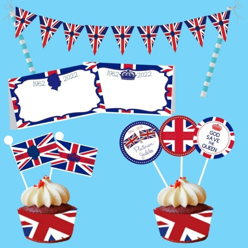 We have all the Free Printable Queen's Platinum Jubilee Decorations that you need for your party celebrating the Queens Platinum Jubilee.