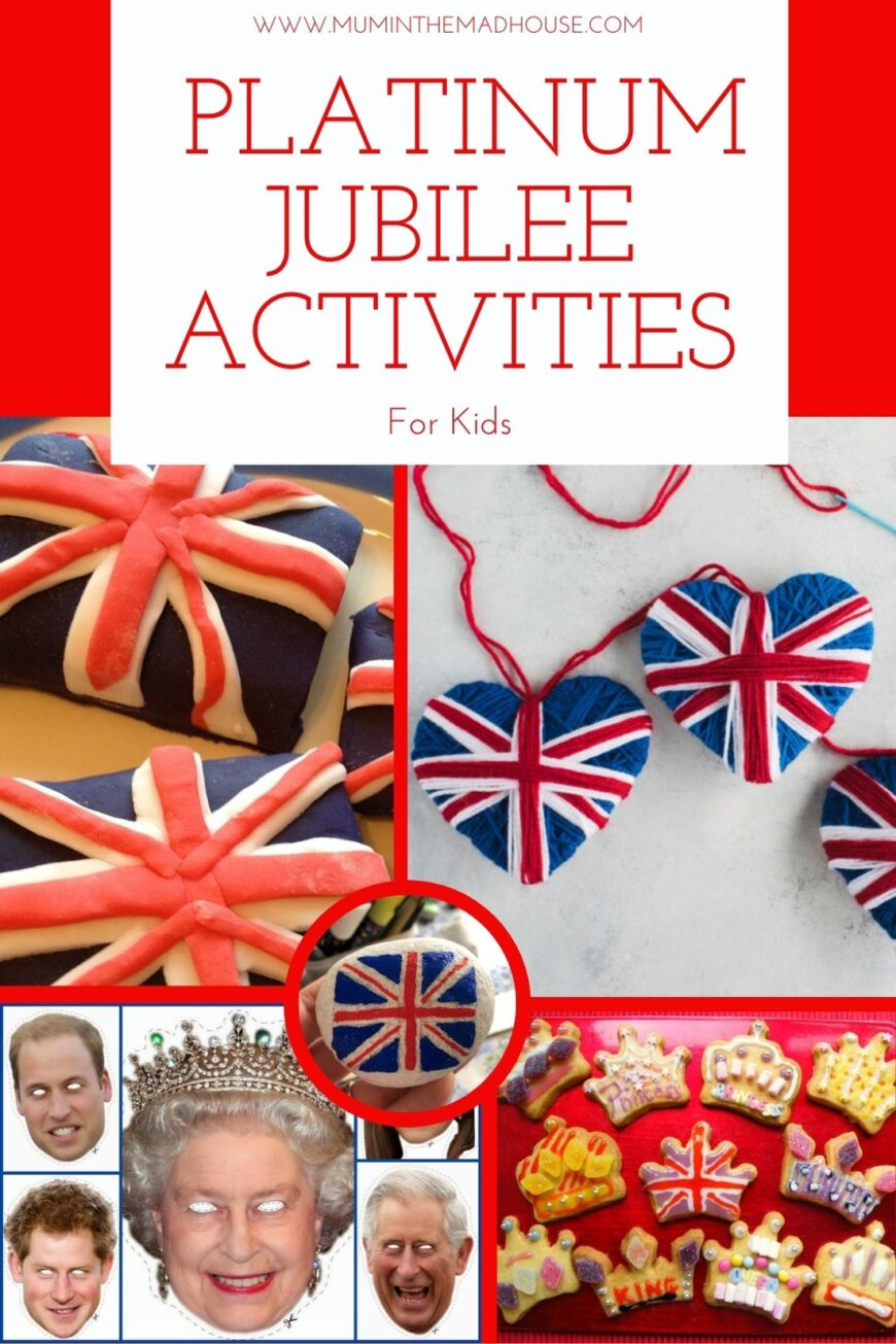 An amazing collection of crafts, recipes and activities for celebrating the Queens Platinum Jubilee with Kids with themes based on Union jacks, castles and King and Queens to help celebrate and commemorate our Queen's historic reign of 70 years.
