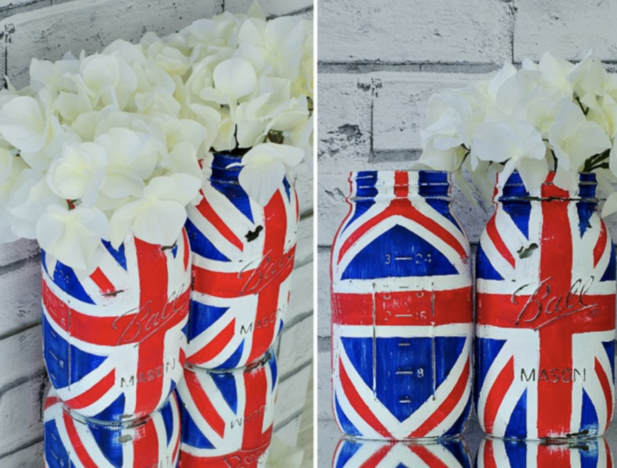 Union Jack Mason Jar - this would be a fun craft for an older child and make a fabulous centrepiece for your Jubilee party.