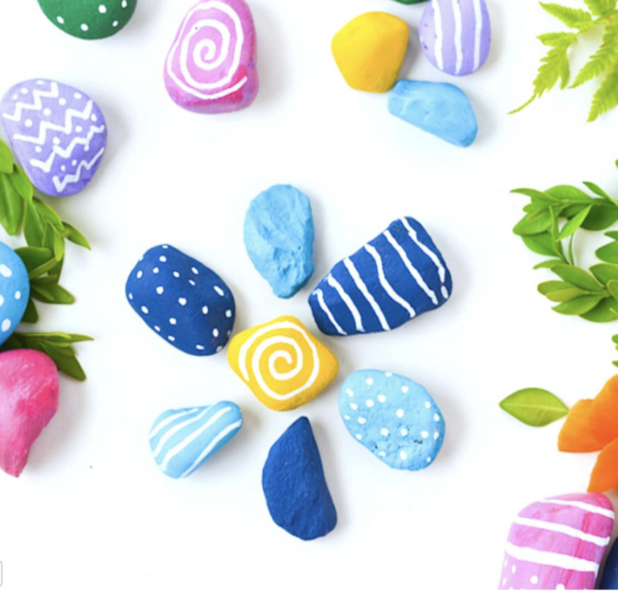 Brightly painted rocks perfect for kids to make