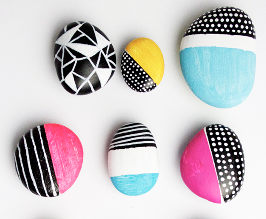 Bright painted rocks for kids