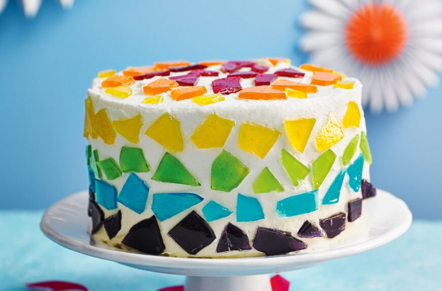 stained glass party cake