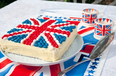 A rectangular cake with jelly beans in a union jack to celebrate the queens Platinum Jubilee