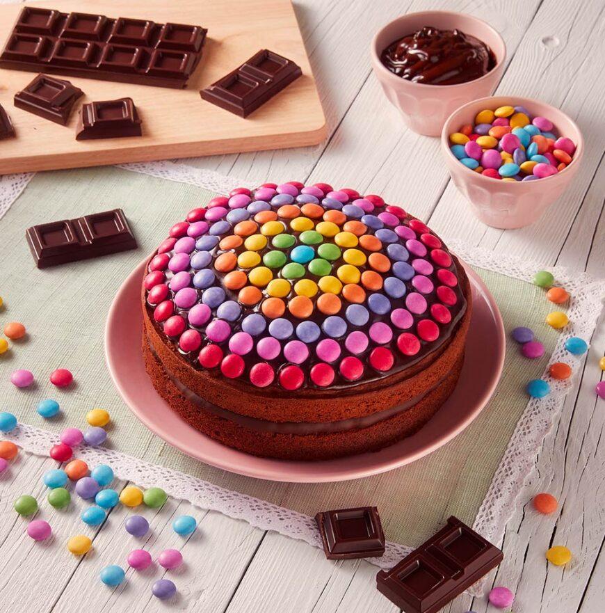Smartie decorated bithday cake