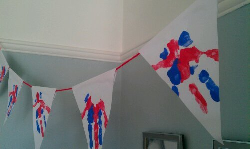 Hand Print Bunting to help celebrate The Queen's Platinum Jubilee.