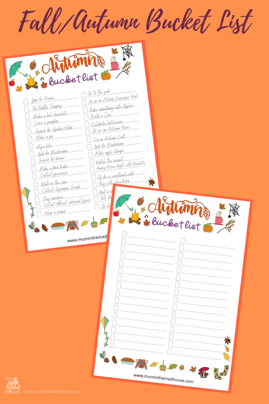 Create a memorable Autumn/Fall with your children using our free autumn/fall bucket list for families for inexpensive Seasonal family fun.