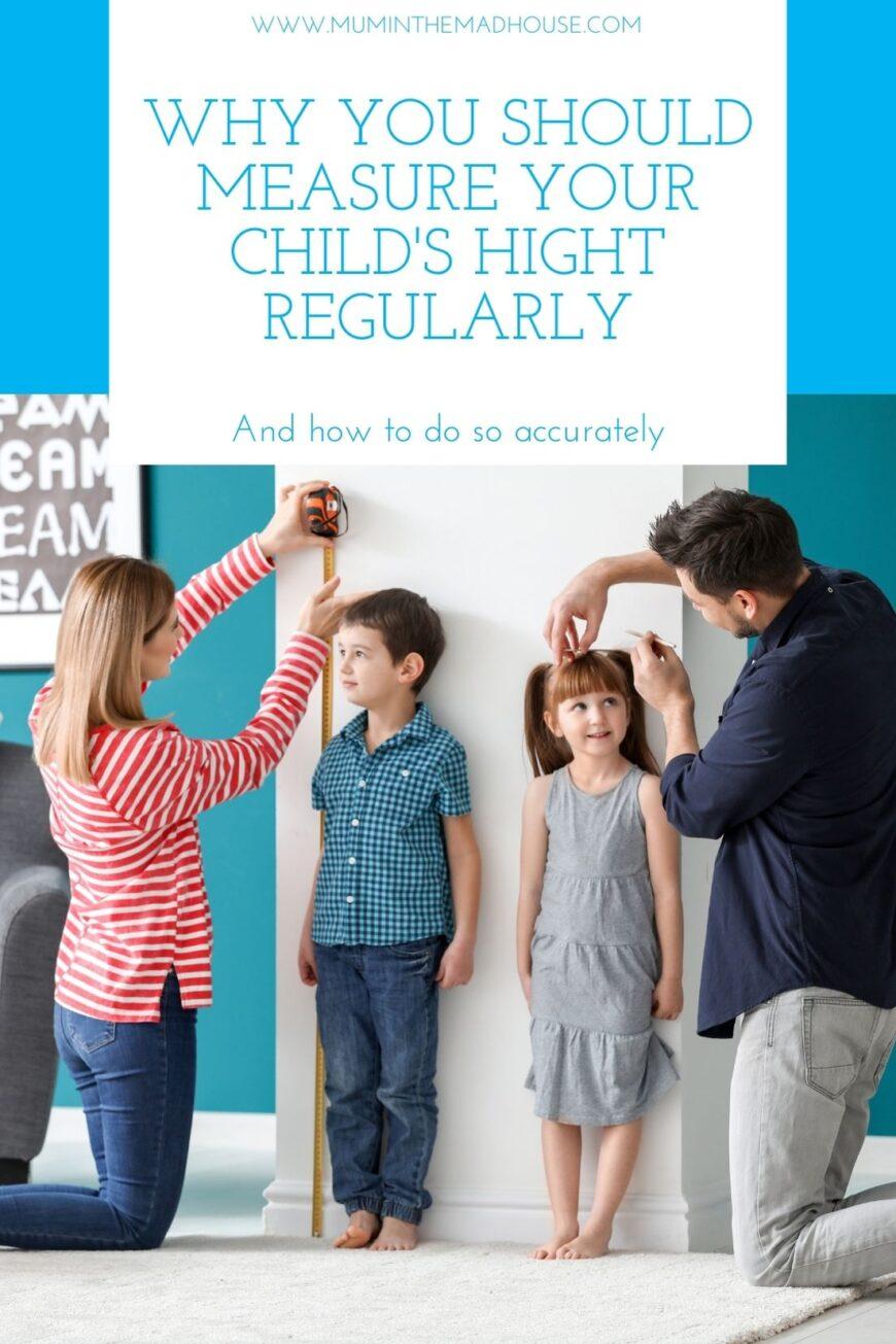 Parents measuring height of children