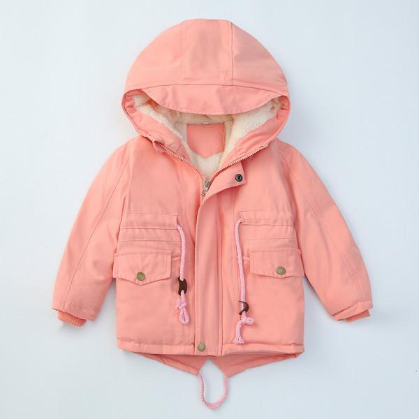 Toddler Solid Color Hooded Fleece-lined Coat